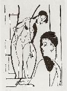 Artist and female modell - woodcut
