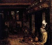 Esaias Boursse Dutch Interior with Woman Sewing oil painting