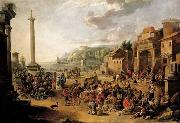 A market in an Italianate harbour with Diogenes in search of an honest man