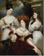 Lady Stuart de Rothesay and her daughters, painted in oils