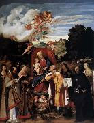 Giovanni Cariani Virgin Enthroned with Angels and Saints oil painting