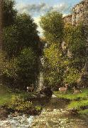 Gustave Courbet A Family of Deer in a Landscape with a Waterfall oil painting reproduction