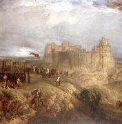 Painting by Henry Dawson 1847 of King Charles I raising his standard at Nottingham Castle 24 August 1642