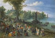 People dancing on a river bank