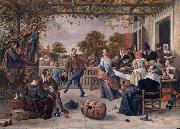 A terrace with a couple dancing to a pipe and fiddle