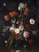 Jan Van Kessel the Younger A still life of tulips, a crown imperial, snowdrops, lilies, irises, roses and other flowers in a glass vase with a lizard, butterflies, a dragonfly a oil painting