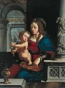 Madonna and Child againt the renaissance background