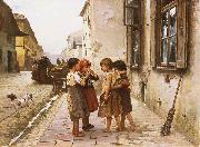 Mancini, Antonio On the street oil painting