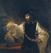 Rembrandt van rijn Aristotle Contemplating a Bust of Homer oil painting reproduction