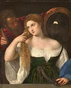 Titian Woman with a Mirror oil painting reproduction