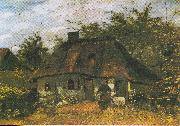 Farmhouse and Woman with Goat