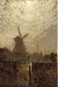 A figure crossing a bridge over a Dutch waterway by moonlight