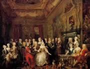 The Assembly at Wanstead House. Earl Tylney and family in foreground
