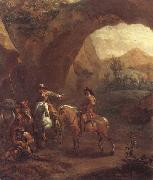 Adam Colonia Landscape with troopers and soldiers beneath a rocky arch oil painting