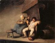 Adriaen van ostade A Peasant Couple in an  interior oil painting