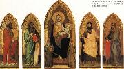 Andrea di Orcagna Madonna and Child Enthroned with Two Angels and SS.Andrew,Nicholas,john the Baptist and James oil painting reproduction