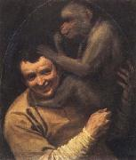 Annibale Carracci Portrait of a Young Man with a Monkey oil painting artist