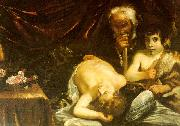 CAGNACCI, Guido Sleeping Christ with Zacharias John the Baptist oil painting