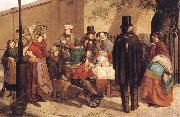 Charles Hunt A Coffee Stall Westminster oil painting