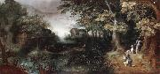 Claes Dircksz.van er heck A wooded landscape with huntsmen in the foreground,a town beyond oil painting
