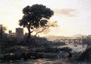 Claude Lorrain Landscape with Shepherds - The Pont Molle oil painting reproduction