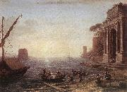 Claude Lorrain A Seaport at Sunrise oil painting reproduction