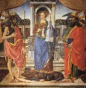 Cosimo Rosselli St.Barbara between SS.John the Baptist and Matthew oil painting