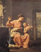 Madonna Sewing with Child