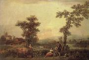 Francesco Zuccarelli Landscape with a Woman Leading a Cow oil painting