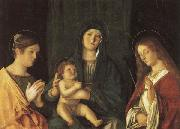 Giovanni Bellini Madonna and Child Between SS.Catherine and Ursula oil painting artist