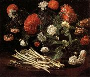 Giovanni Martinelli Still Life with Roses,Asparagus,Peonies,and Car-nations oil painting