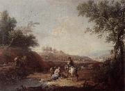 Giuseppe Zais An italianate landscape with fishermen and travellers resting beside a pool oil painting
