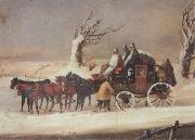 Henry Alken Jnr The Bath To London Royalmail Coach in the snow oil painting