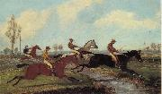 Henry Alken Jnr Over the Water,Past a Marker over the Ditch oil painting