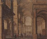 Jan Van Vucht The interior of a reformed church,with a beggar soliciting alms from an elegant company oil painting