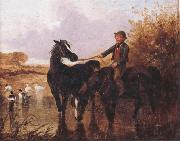Watering The Horses and Farmyard Companions:a Pair of Paintings