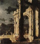 Leonardo Coccorante An architectural capriccio with figures amongst ruins,under a stormy night sky oil painting