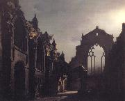 Luis Daguerre The Ruins of Holyrood Chapel,Edinburgh Effect of Moonlight oil painting