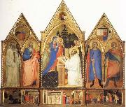 Matteo Di Pacino St.Bernard's Vistonof the Virgin with SS.Benedict,john the Evange-list.Quintinus,and Galgno,The Blessed Redeemer and the Annunciation Stories of the S oil painting picture wholesale