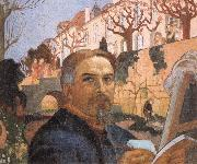 Self-portrait with His Family in Front of Their House