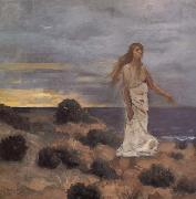 Pierre Puvis de Chavannes Mad Woman at the Edge of the Sea oil painting artist