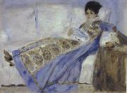 Madame Monet Reclining on a Sofa Reading Le Figaro