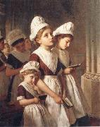 Sophie anderson Foundling Girls in their School Dresses at Prayer in the Chapel oil painting picture wholesale