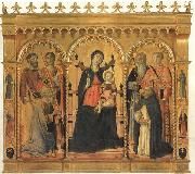 Madonna and Child Enthroned with SS.Bartholomew,James,Eligius,Andrew,Lawrence and Dominic