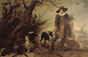 A Hunter with Dogs Against a Landscape