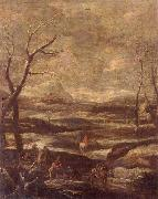 A winter landscape with woodcutters and travellers