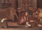 A Kitchen still life of utensils and fruit in a basket,shelves with wine caskets beyond