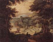 a wooded landscape with a hunting party at the edge of a lake,a castle beyond