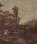 unknow artist An architectural capriccio with a cavalry engagement,a landscape beyond