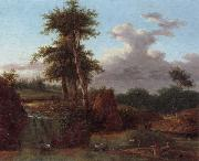 A Wooded landscape with an artist sketching at the base of a waterfall,anmals drinking in a pool nearby